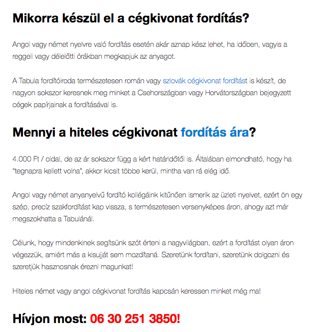 cégkivonat fordítás